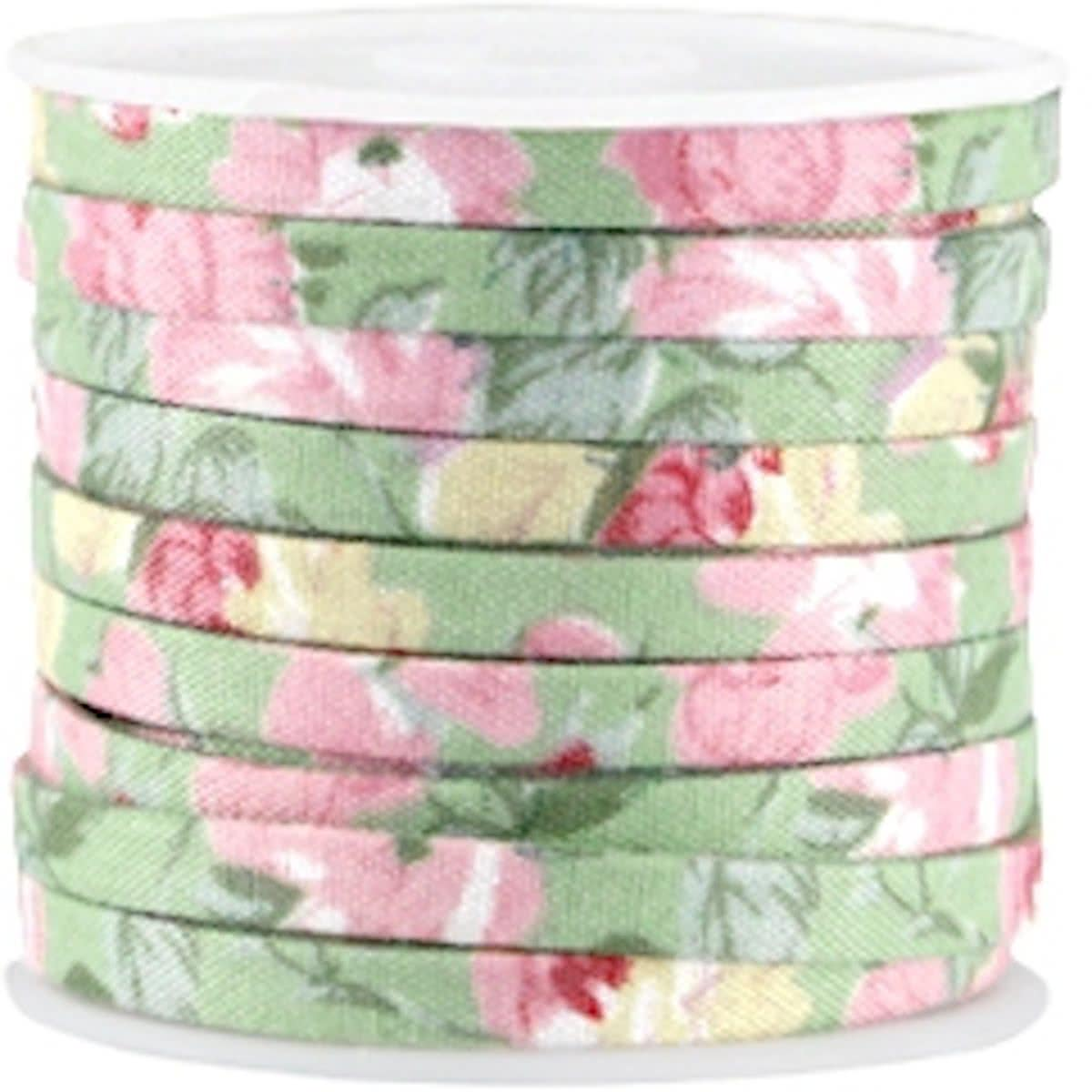 5 meter Trendy plat koord 5mm Soft green - rose