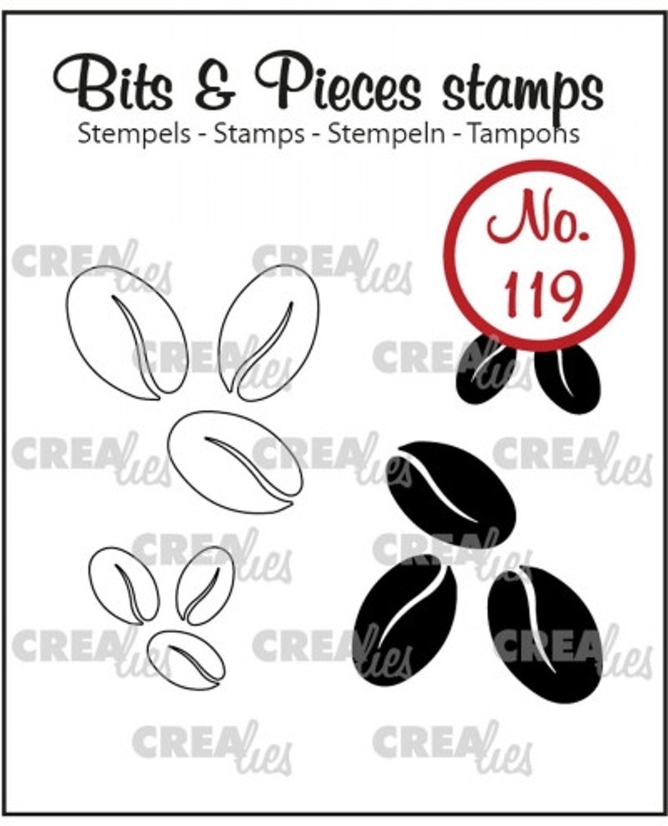 Crealies Bits & Pieces stempel no.119 koffiebonen