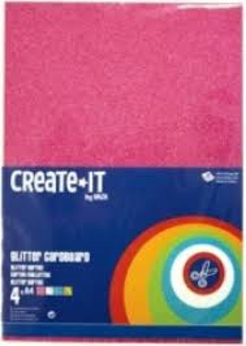 Create-It Glitterkarton A4 4 Kleuren