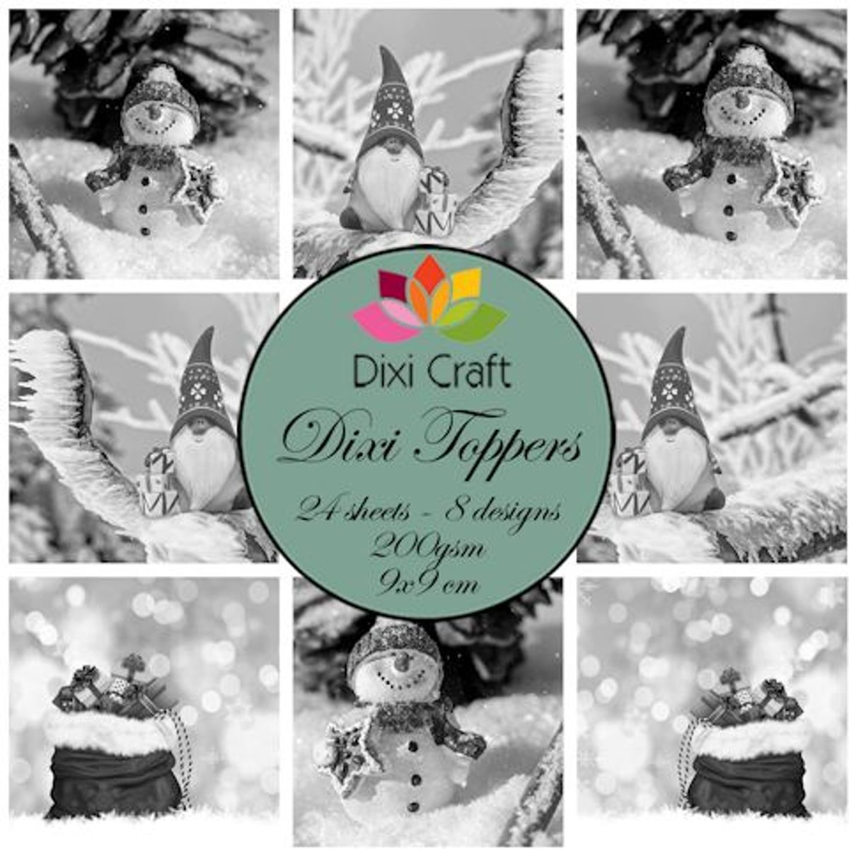 Dixi Craft - Paperpack - Gnome & snowman: Grey - ETL018