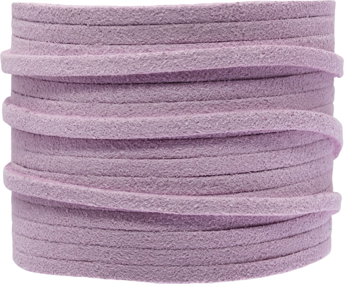 Faux Suede Veter (3 mm) Bright Lilac (5 Meter)