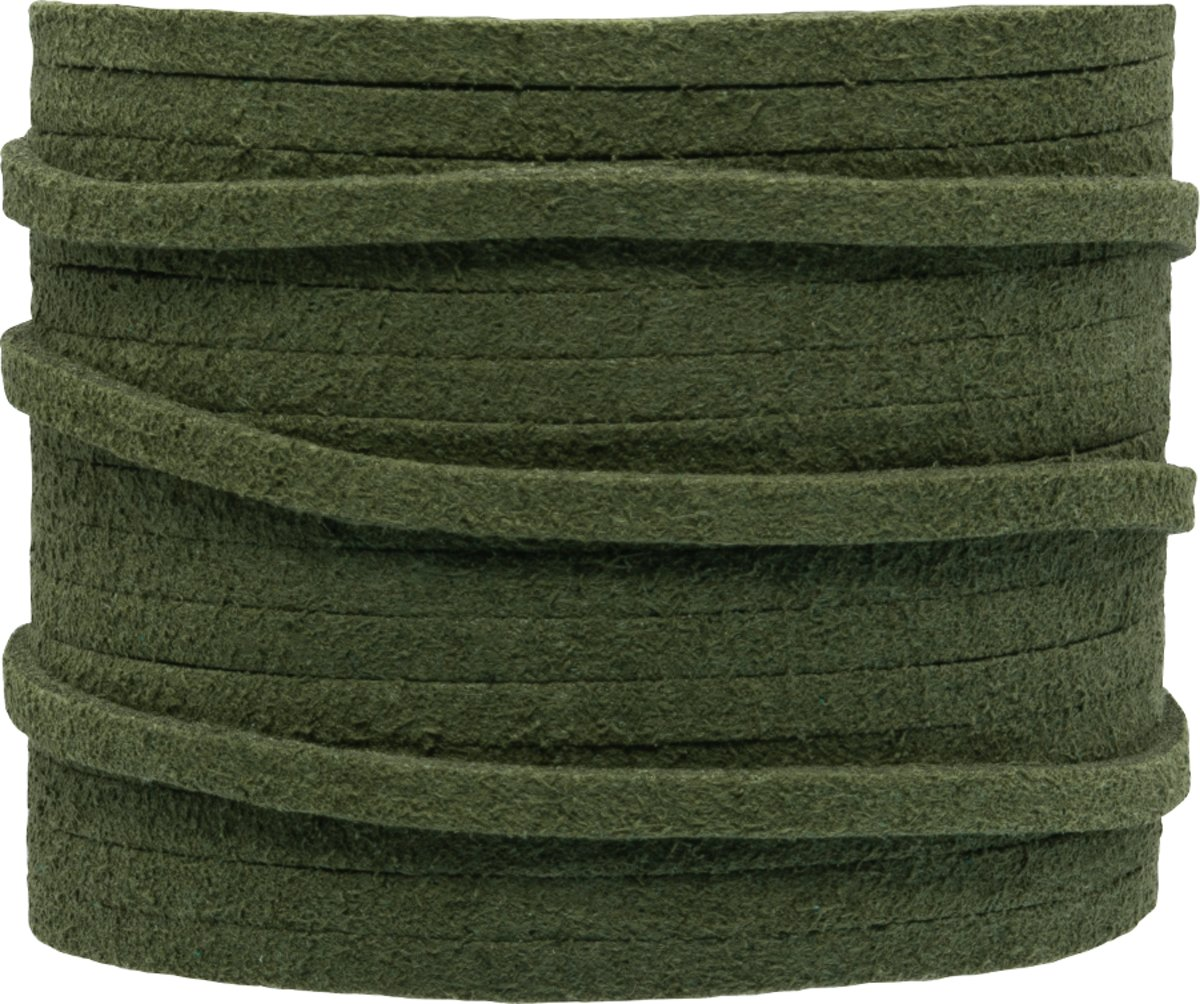 Faux Suede Veter (3 mm) Forest Green (5 Meter)