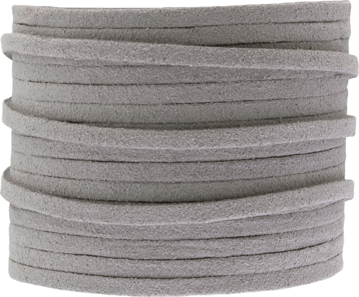 Faux Suede Veter (3 mm) Light Grey (5 Meter)