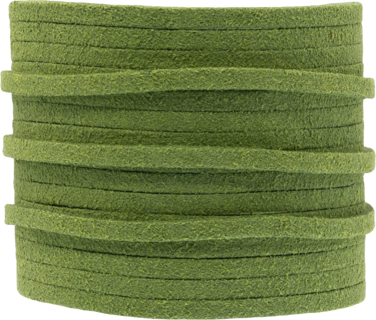 Faux Suede Veter (3 mm) Parrot Green (5 Meter)