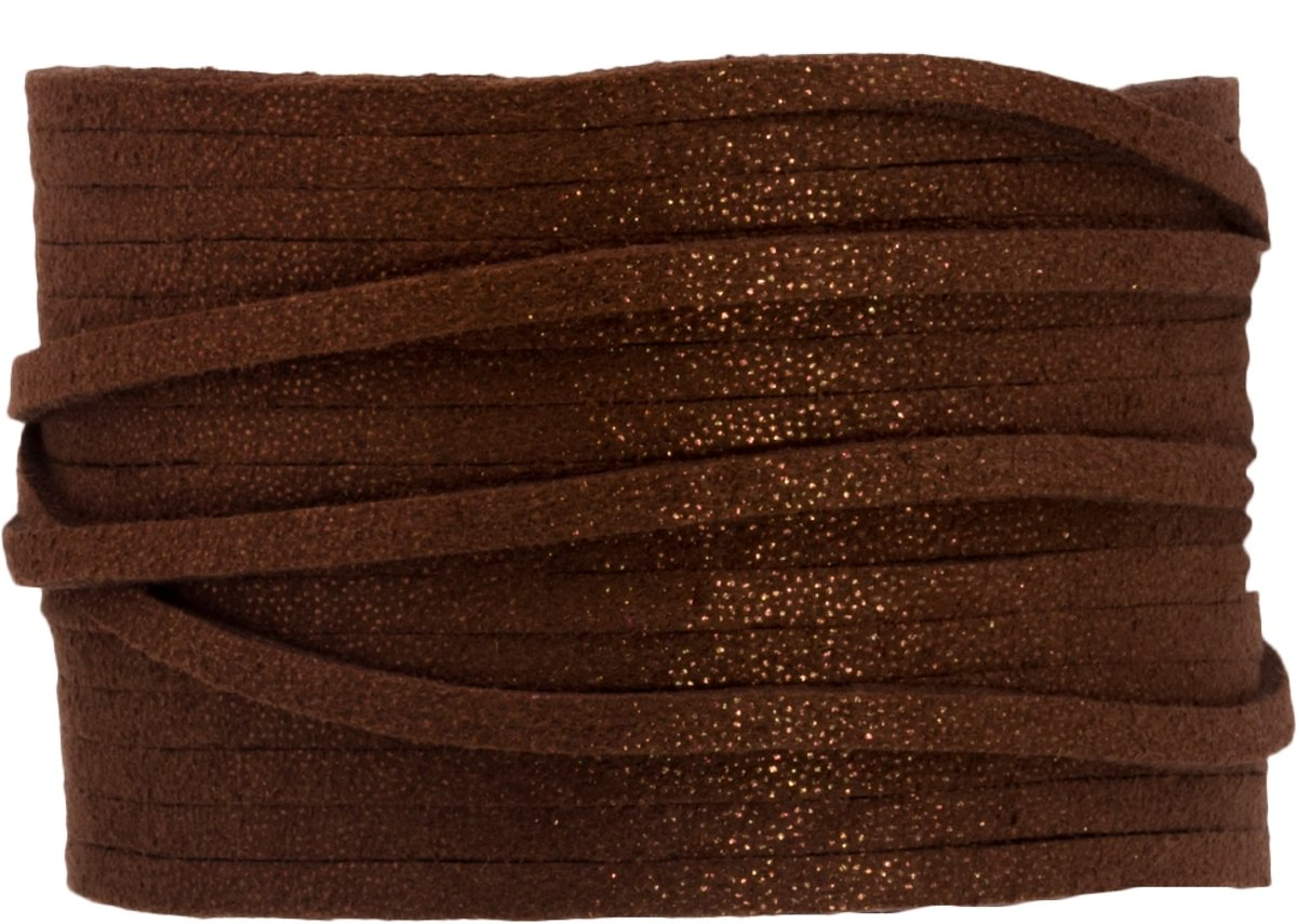 Faux Suede Veter Glitter (3 mm) Chocolate (9.5 Meter)