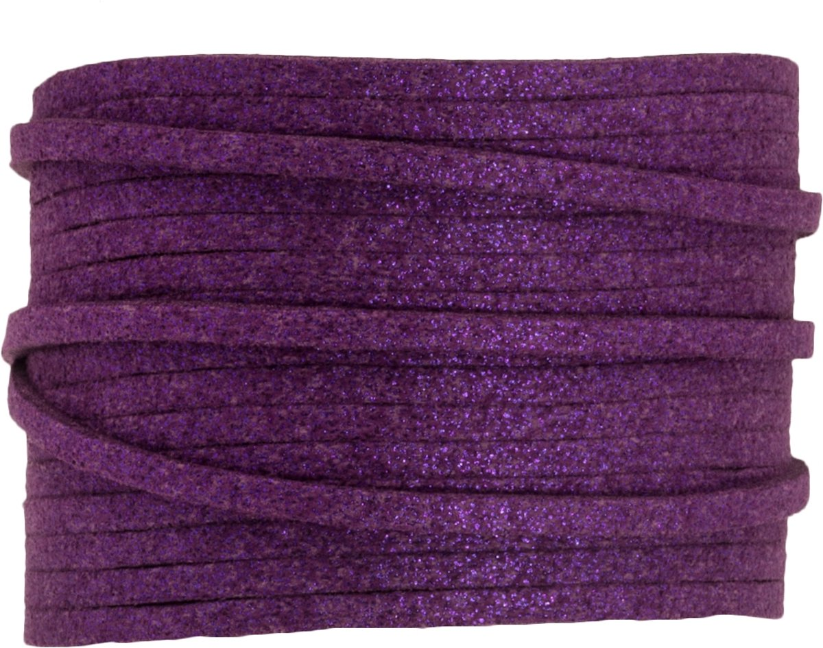 Faux Suede Veter Glitter (3 mm) Plum Purple (9.5 Meter)