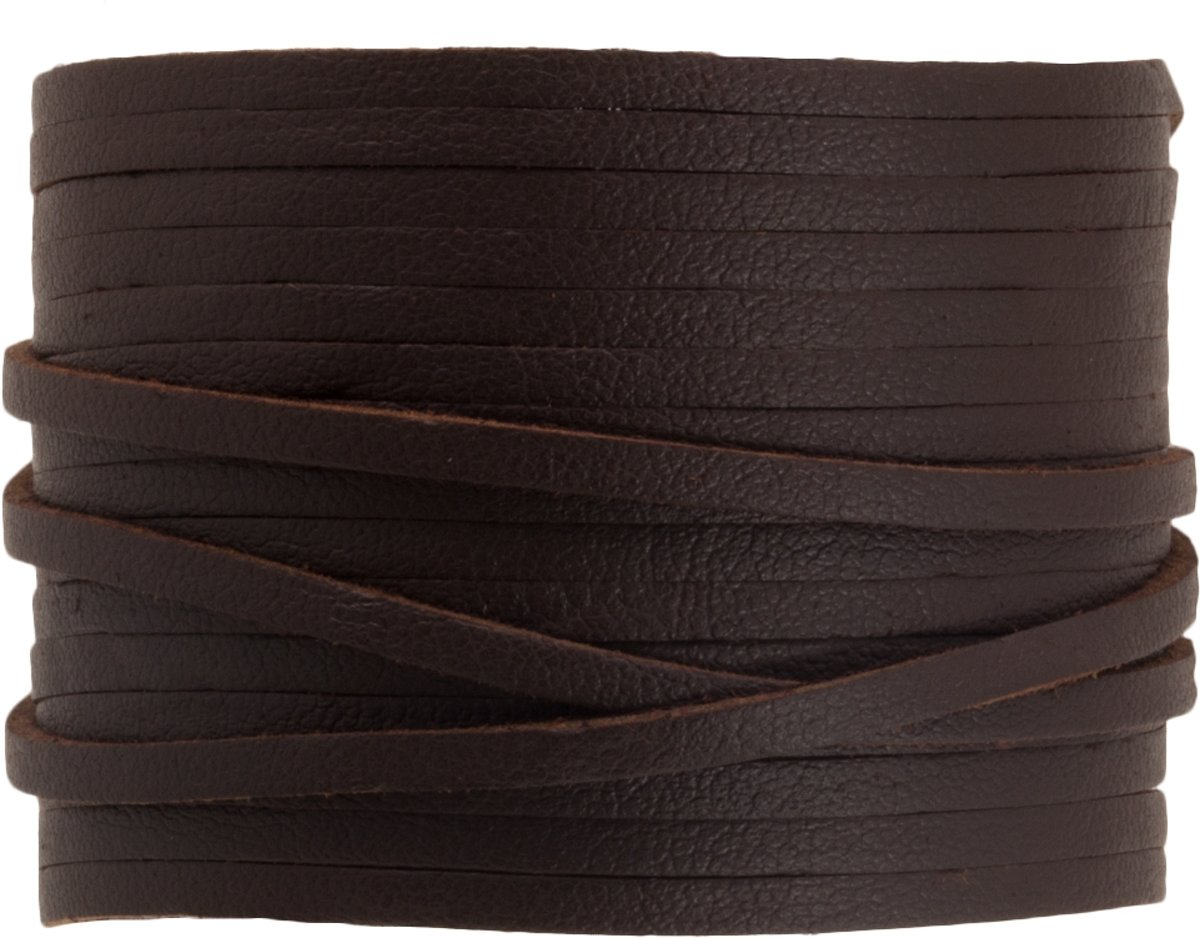 Faux Suede Veter Leather Look (3 mm) Coffee Brown (10 Meter)