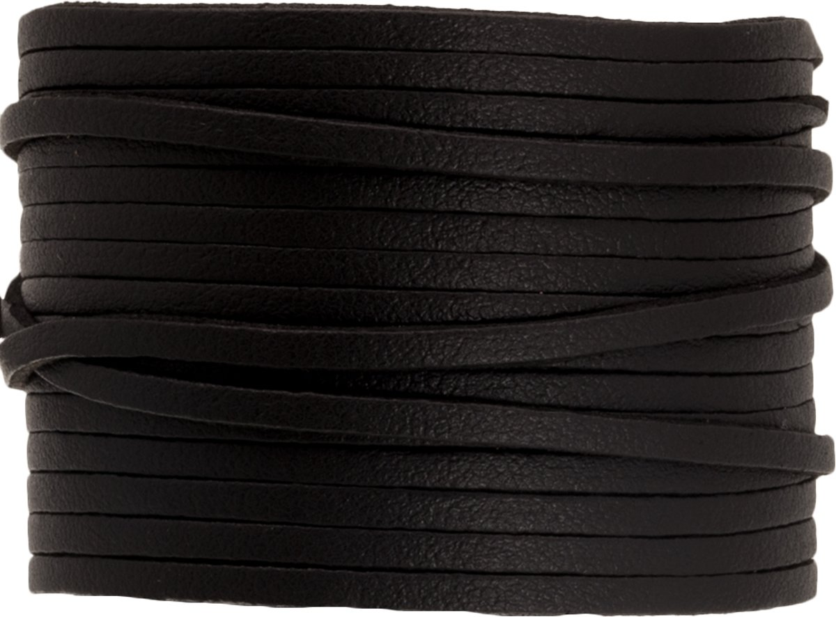 Faux Suede Veter Leather Look (3 mm) Pitch Black (10 Meter)