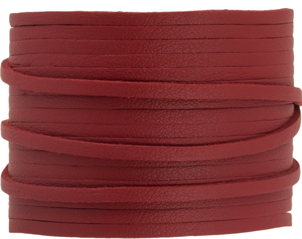 Faux Suede Veter Leather Look (3 mm) Red Rose (10 Meter)