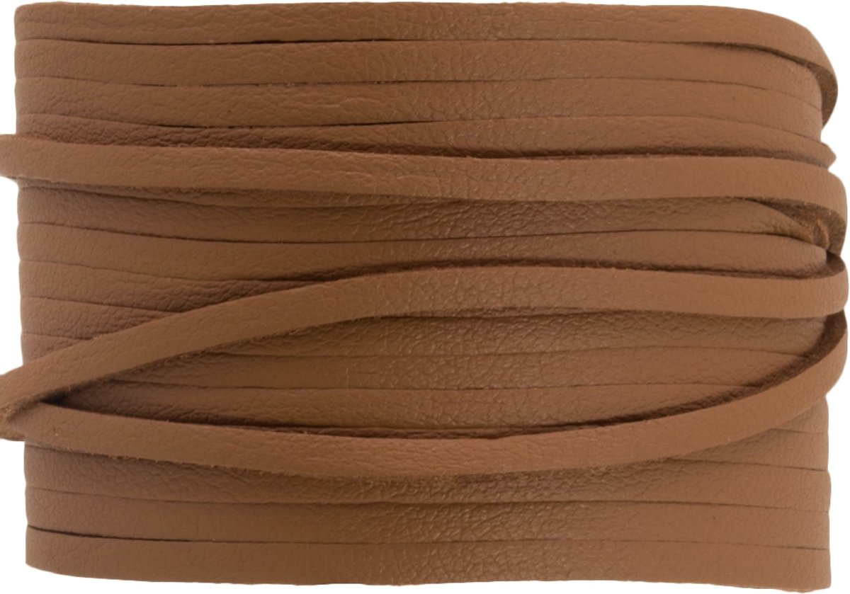 Faux Suede Veter Leather Look (3 mm) Tan Brown (10 Meter)