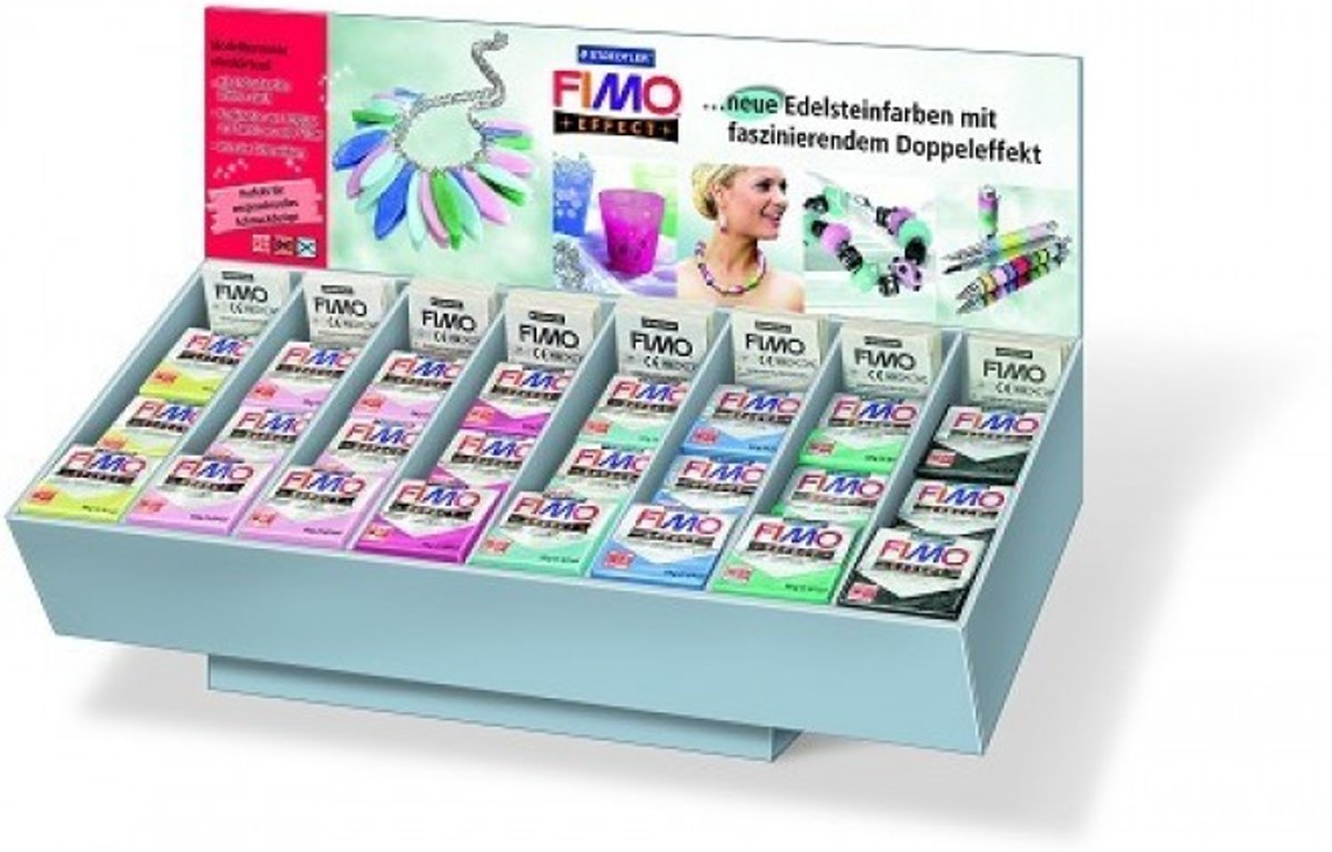Fimo Display effect gemstone 7 kleuren (96 ST) 8093 V6DS 03