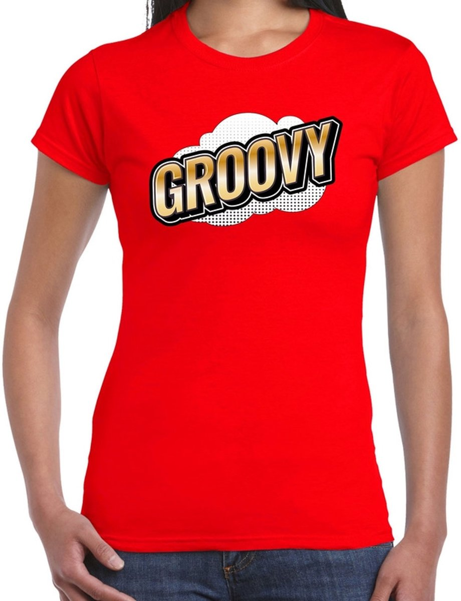 Fout Groovy t-shirt in 3D effect rood voor dames - fout fun tekst shirt / outfit - popart XS