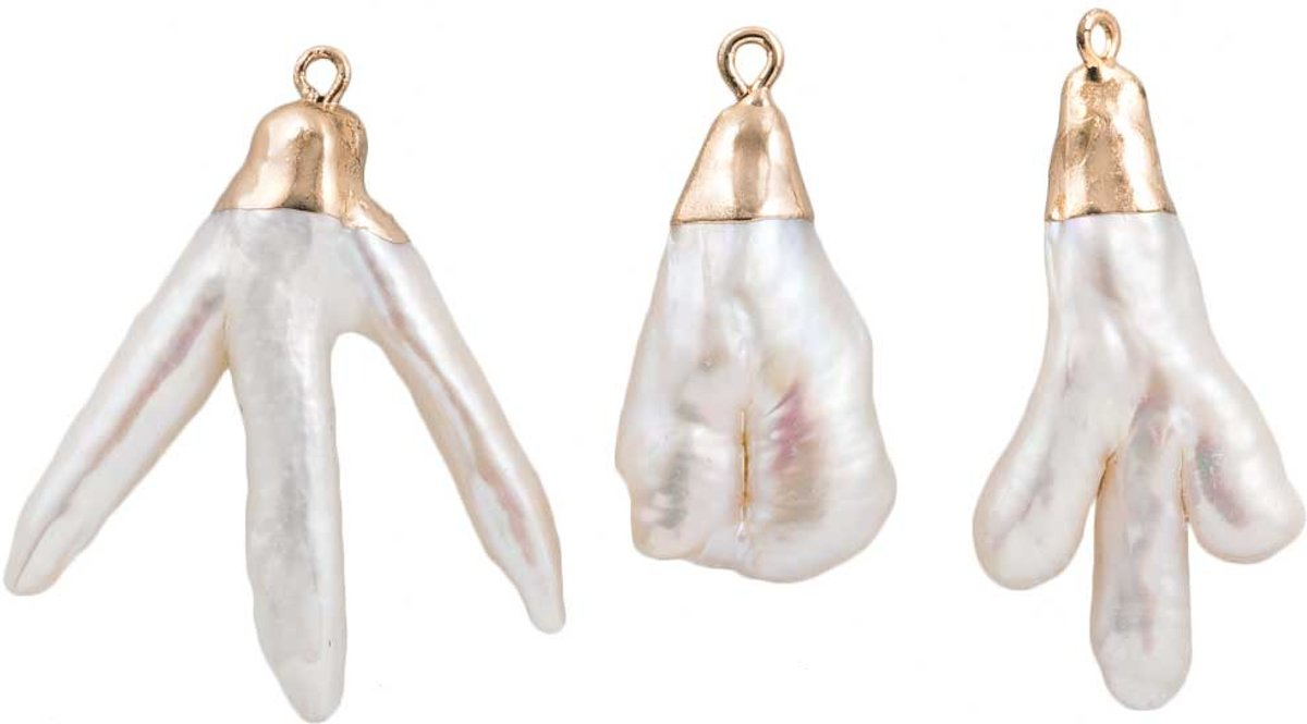 Hanger Keshi Zoetwaterparel Gold Plating (35 x 22 mm) White (3 stuks)