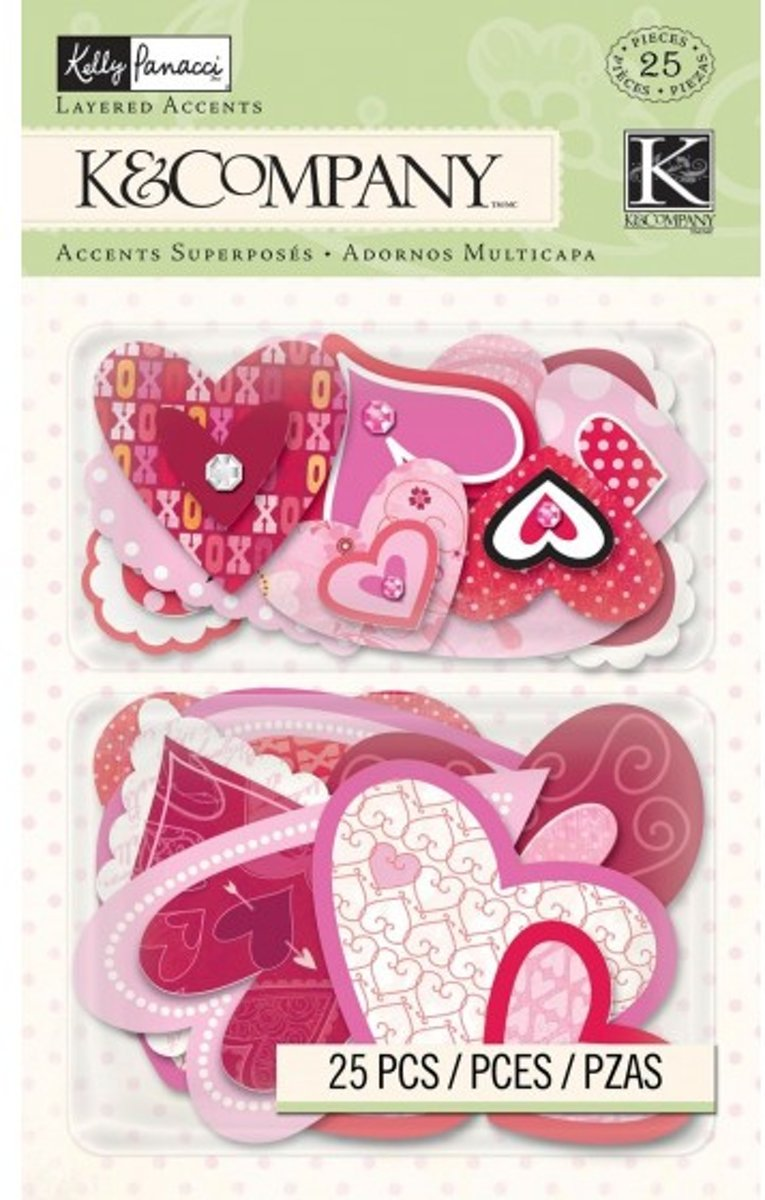K&Company valentine hearts layered accents