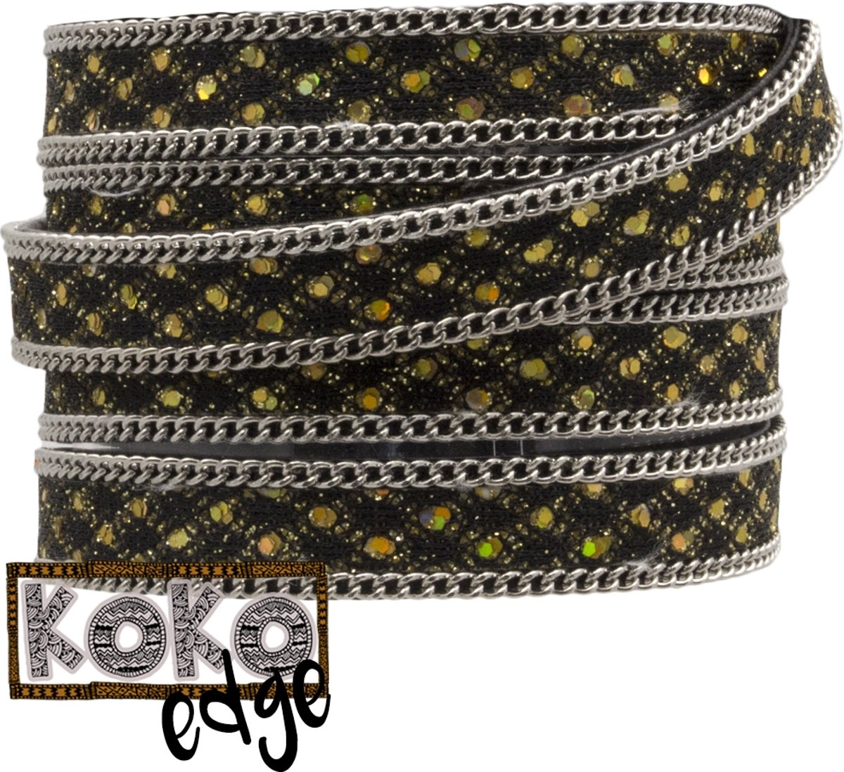 Koko Edge Faux Leer (10 x 2 mm) Gold Sparkle (95 Centimeter)
