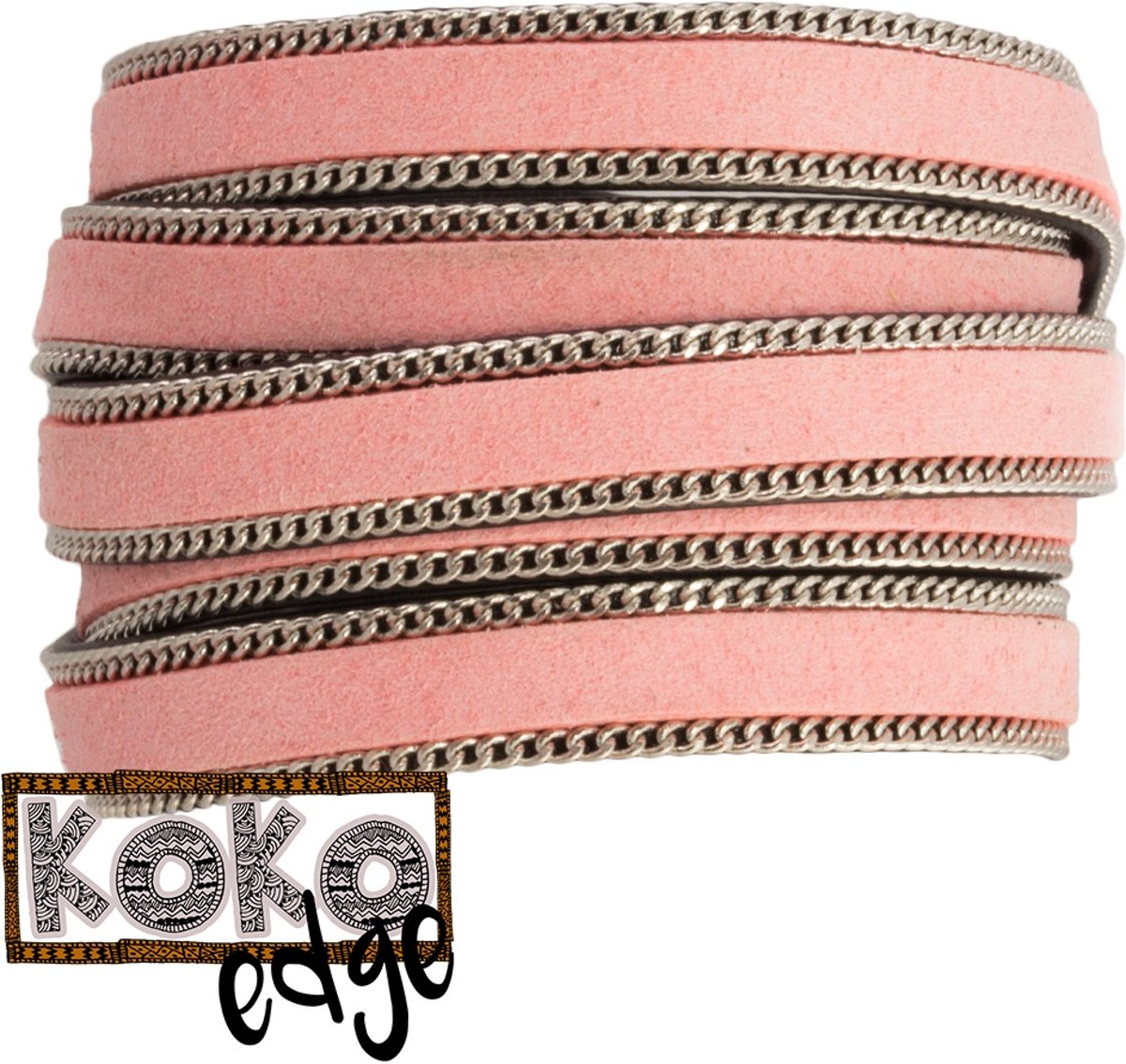 Koko Edge Faux Leer (10 x 2 mm) Light Pink (90 cm)