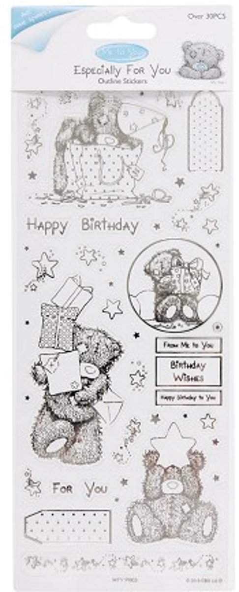 Outline Stickers - Me To You (Birthday Bear) - Clear