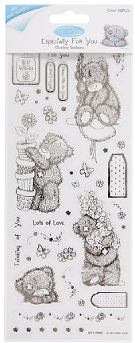 Outline Stickers - Me To You (Floral Bear) - Clear