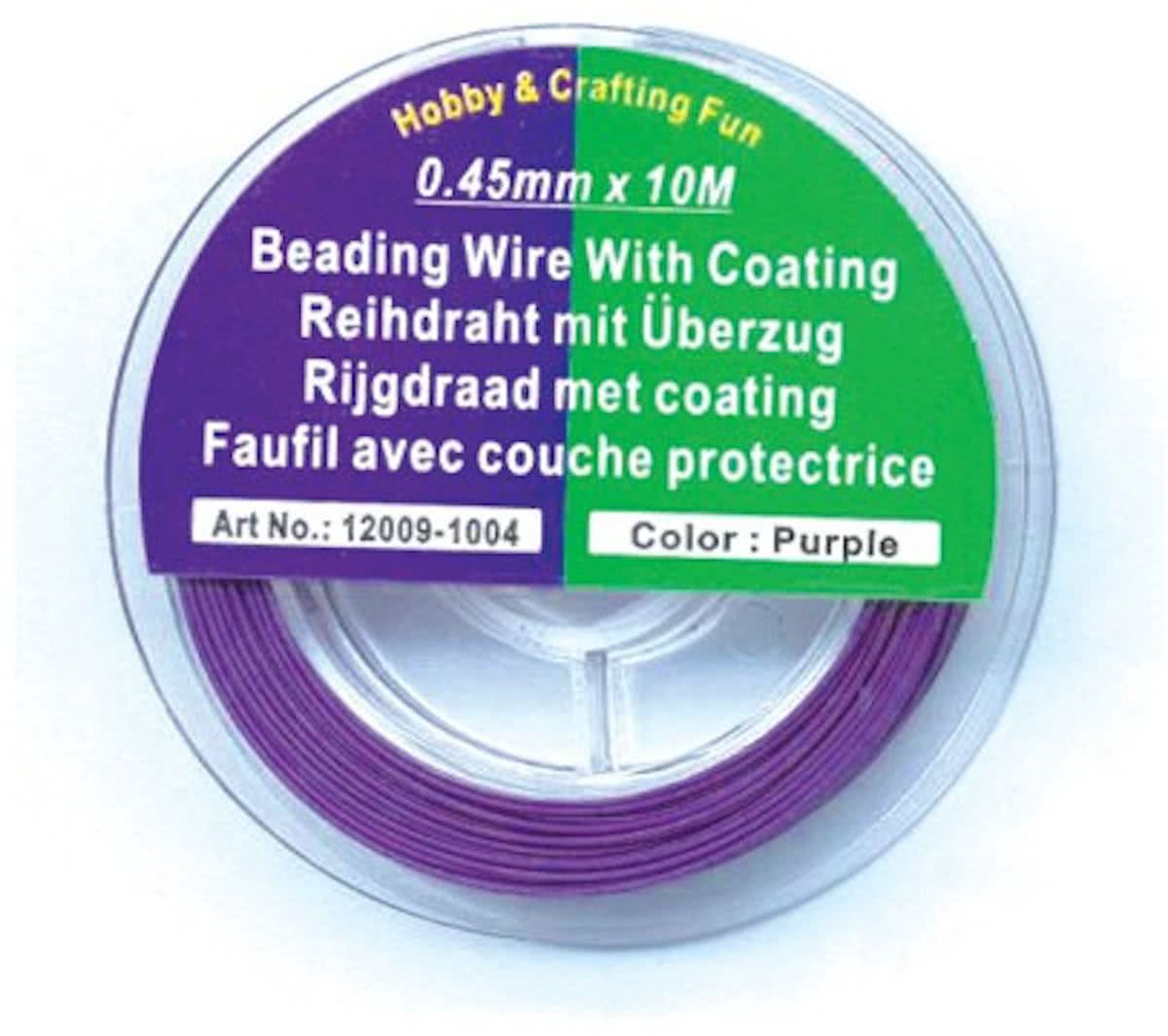 Rijgdraad met Coating - Purple - 0,45mm x 10meter. 2 ROLLETJES.