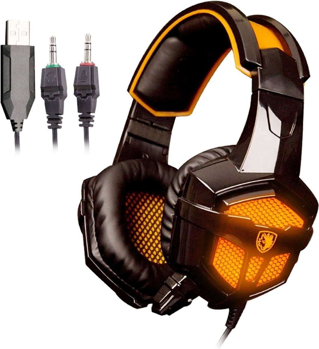 SADES 738 USB 3.5mm Jack Over Ear Wired Stereo Gaming Headset met Mic & LED light(Oranje)