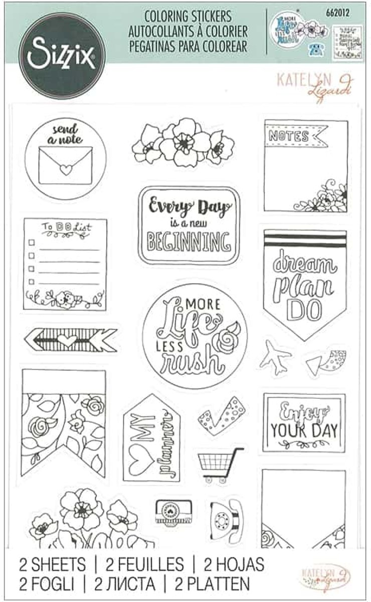 Sizzix - Sticker Katelyn Lizardi Coloring Color Your Planner