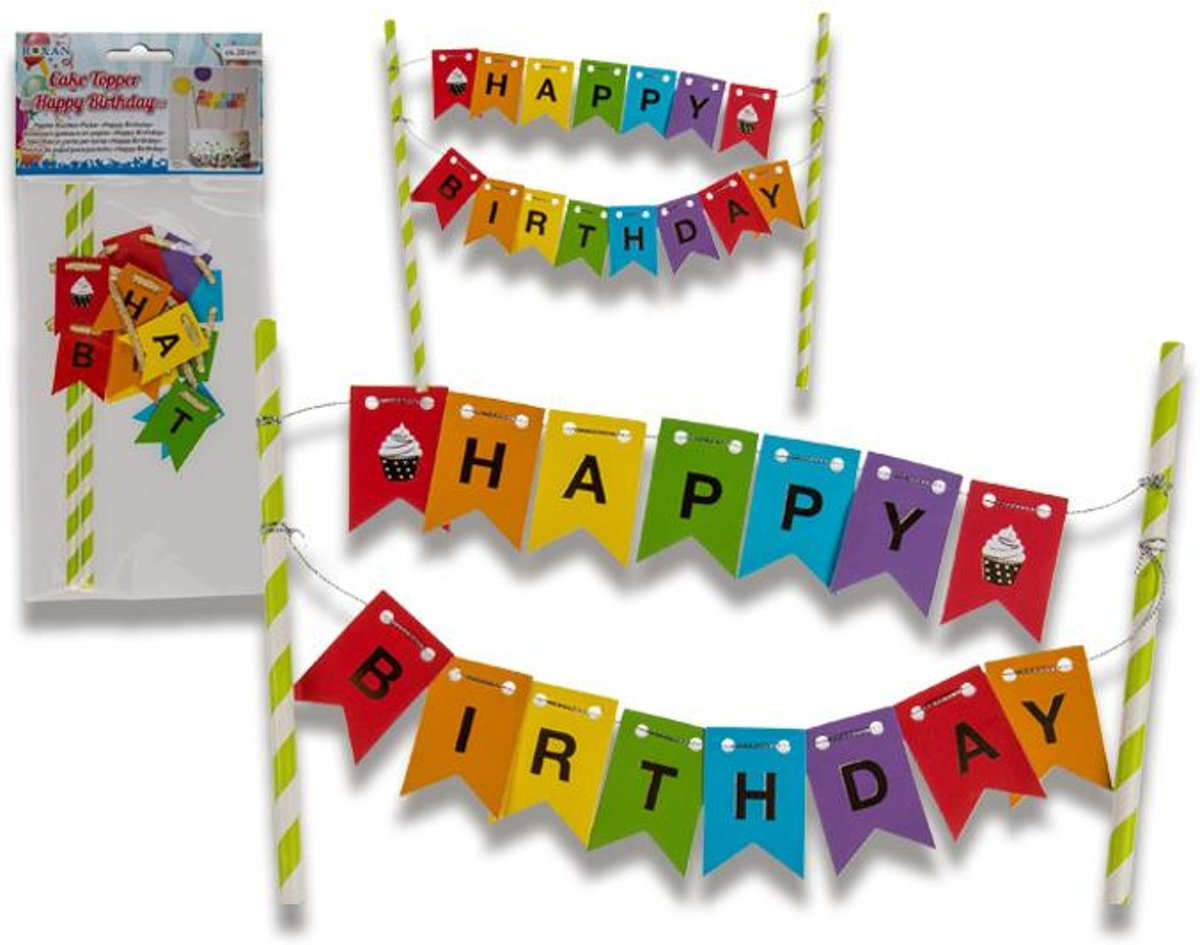 Taartdecoratie Happy Birthday (20cm)