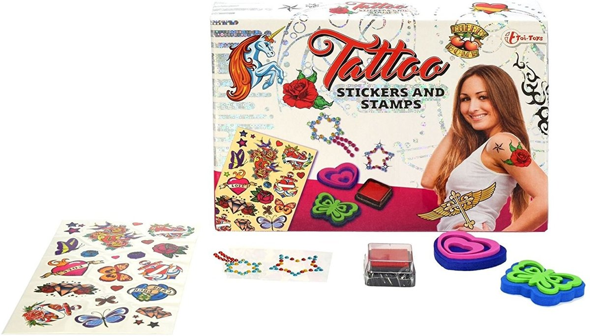 Tattoo box medium  stickers en stempels