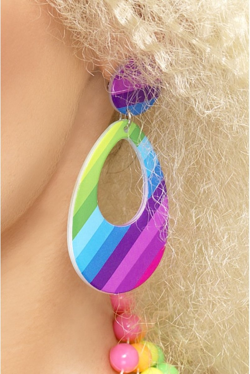 Teardrop Earrings Druppel Clip-on Oorbellen Regenboog kleuren