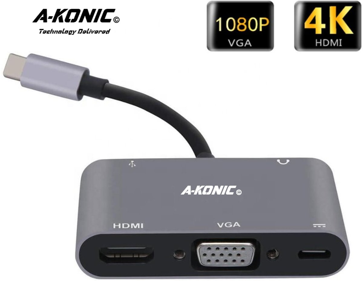5 in 1 USB C naar HDMI 4K, VGA, usb-c opladen (thunderbolt), JACK en USB A | Type c adapter to HDMI, VGA, Type-C charging & USB 3.1 AUX | Apple Macbook | Chromebook | IMAC | Surface | XPS | Dell | Lenovo | Samsung | HP|A-KONIC©