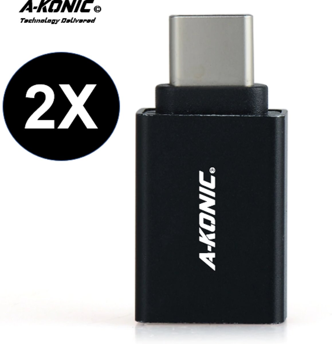 A-Konic© set van 2 USB-C naar USB-A adapter OTG Converter USB 3.0 | USB C to USB HUB | geschikt voor Apple MacBook / iMac / Ultrabook / Surface Book 2