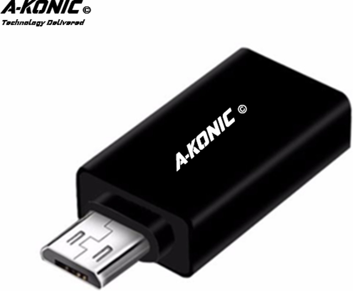 A-Konic ©- verloop adapter USB-adapter naar Micro usb | Opzetstuk | USB to Micro-usb Converter | zwart