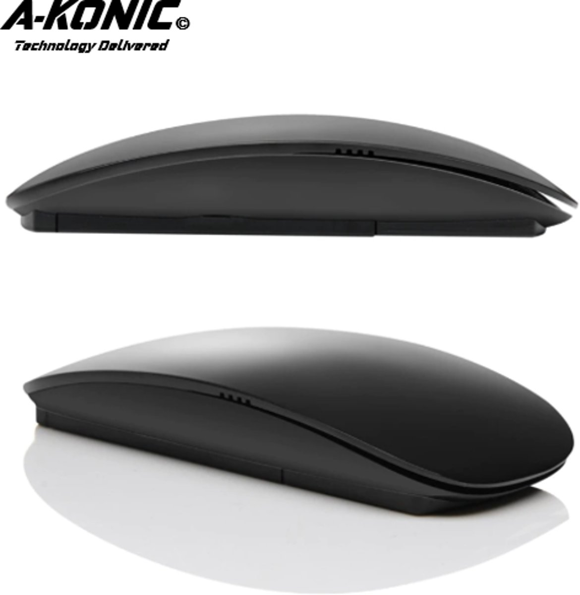 Apple Muis Van A-KONIC© | Draadloze Bluetooth Muis | Magic Mouse | IOS | Bluetooth 3.0 | Universeel | Compatible Apple Macbook | Chromebook | IMAC | Surface | XPS | Dell | Lenovo | Samsung | HP |Zwart