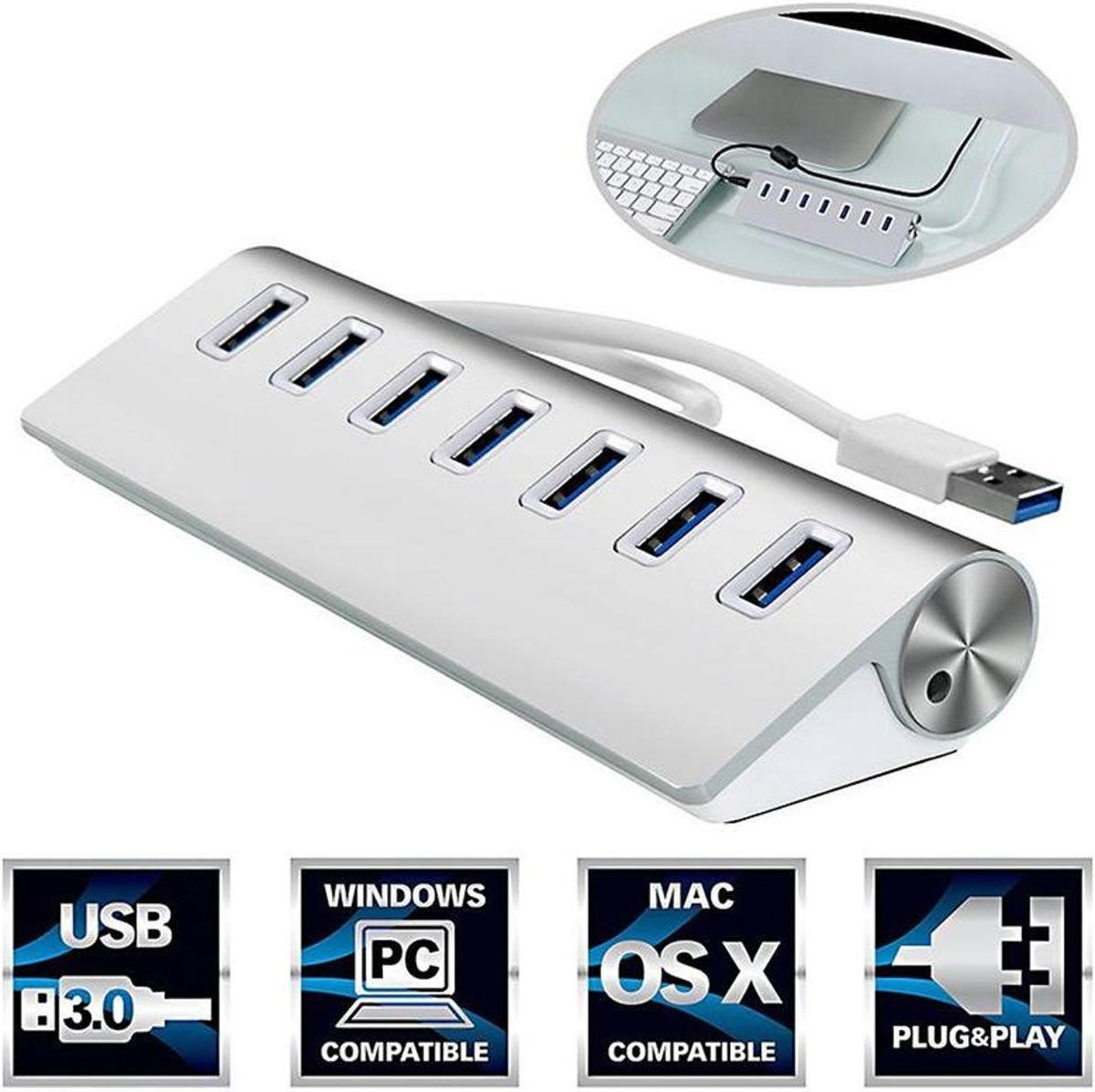 7 Poorts USB 3.0 Hub / Switch / Splitter / Verdeler - Compatibel Met Windows PC Laptop & Apple Mac - Plug&Play - Aluminium Look
