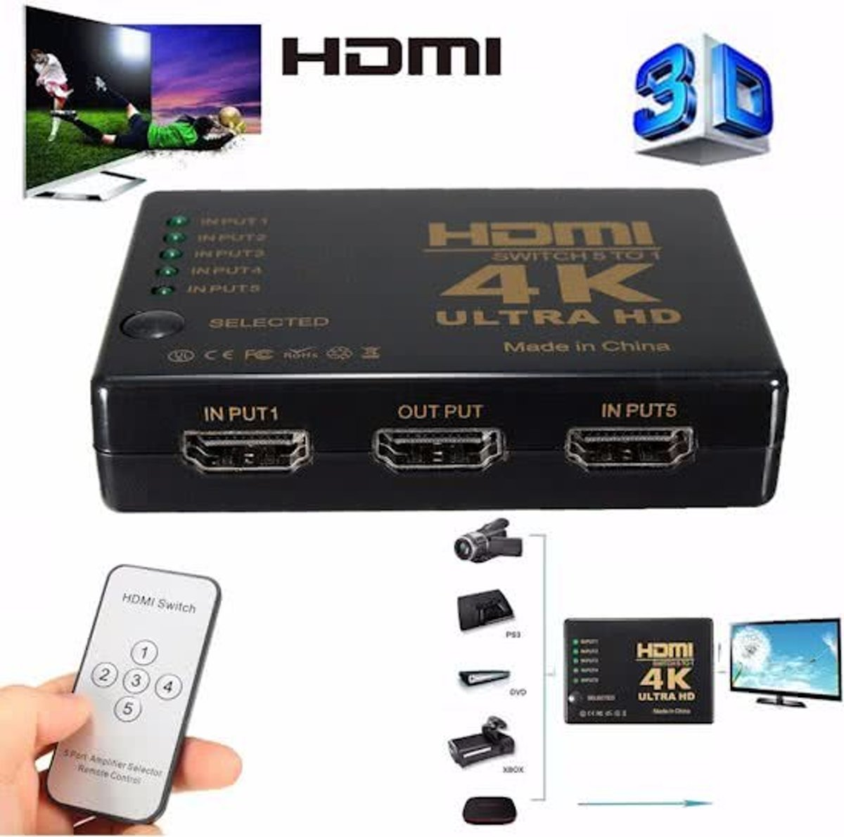 HDMI 4K Switch Splitter Inclusief Afstandbediening 1080P 5 Poorts