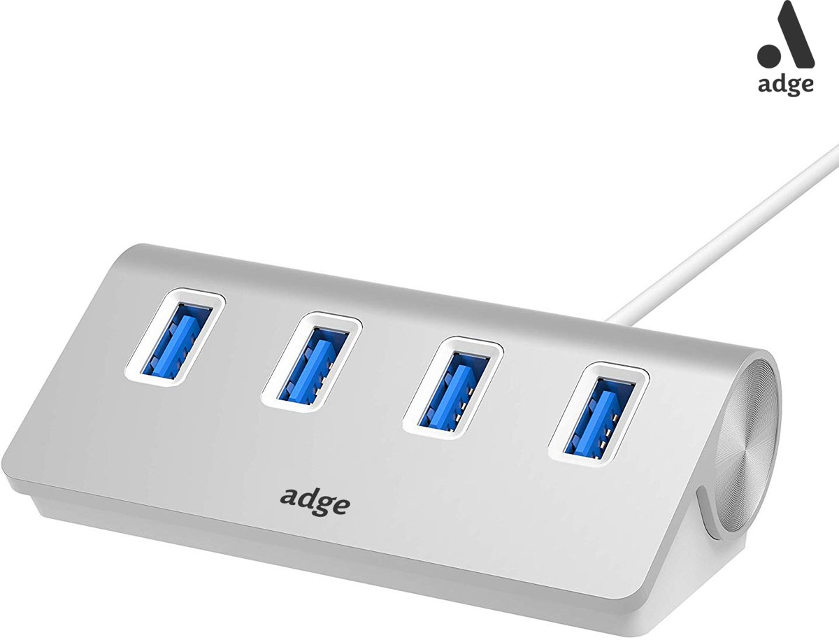 - 4 Ports Aluminium USB 3.0 High Speed    - LED-indicator – Geschikt voor Windows, Linux en Mac OS - USB 3.0 - Zilver