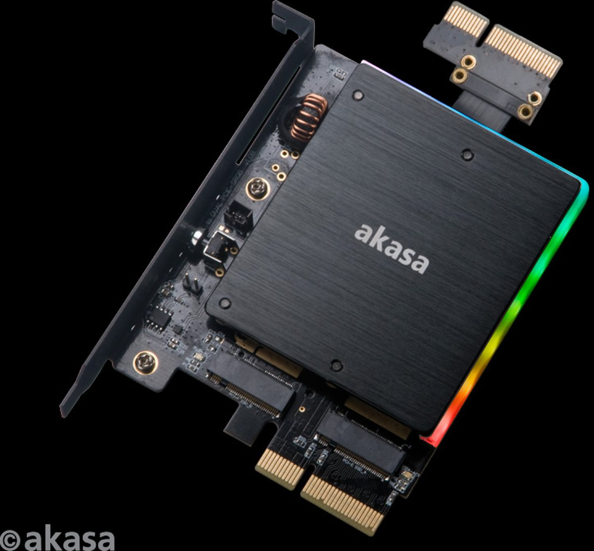 Dual M.2 PCIe SSD adapter with RGB LED light and heatsink