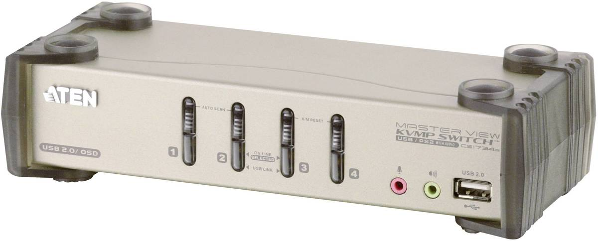 ATEN CS1734B 4-poorts KVM-schakelaar met USB 2.0 hub en 2.1 surround sound audio