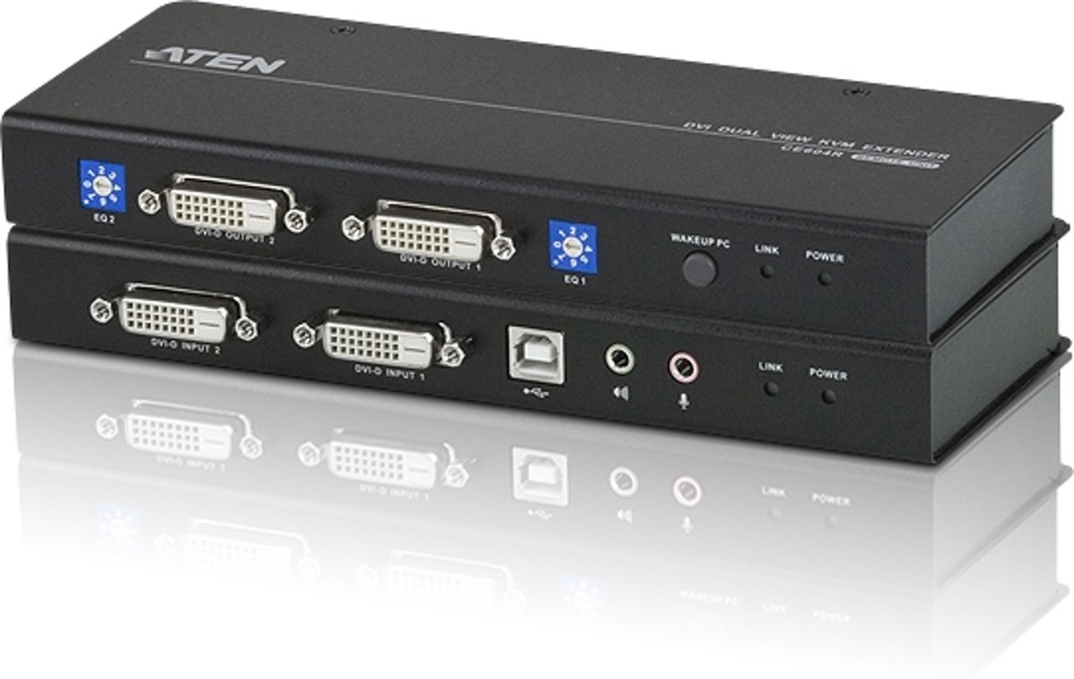 KVM Extender USB Dual View DVI KVM Extender with Audio and RS-232 (60m)