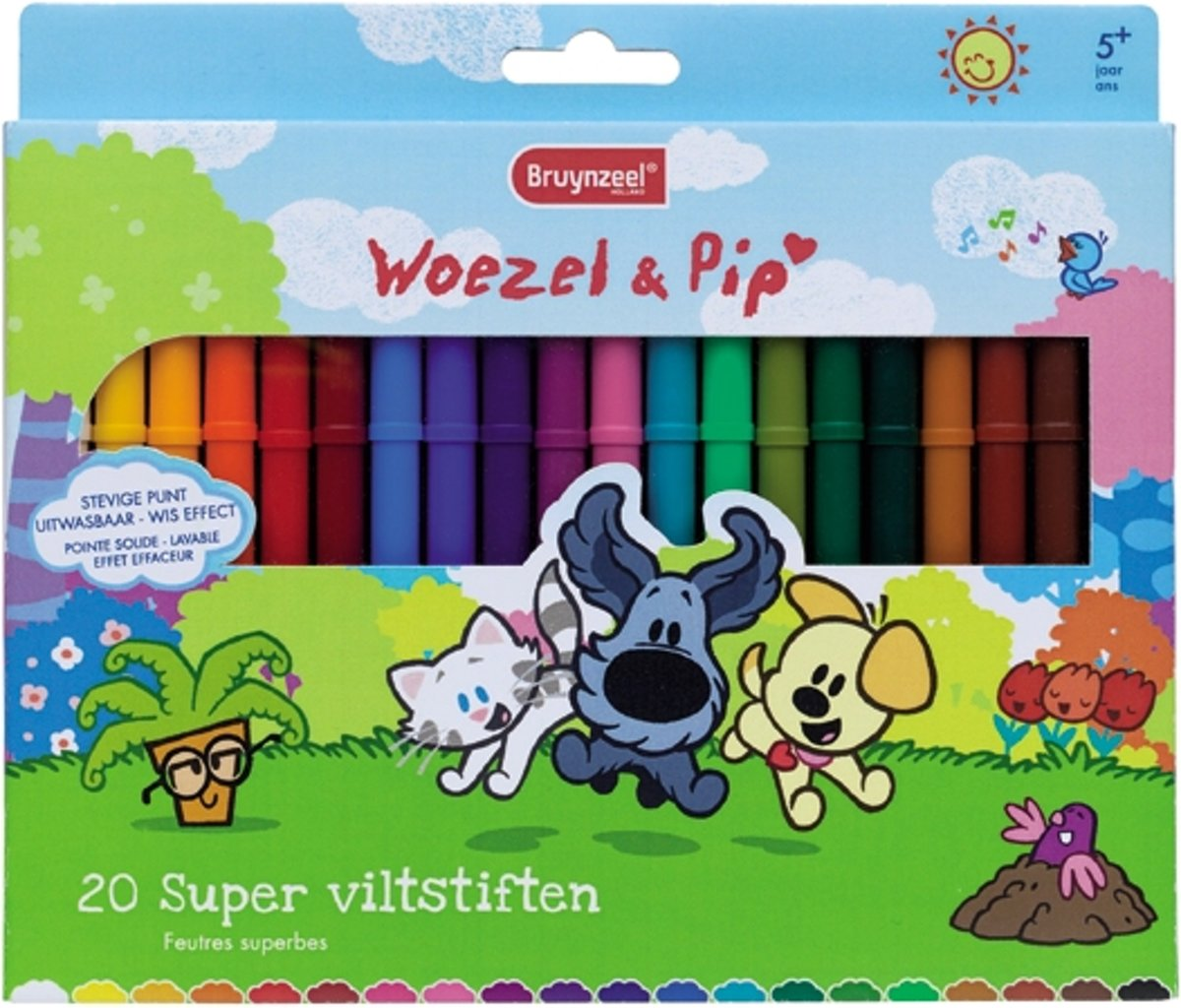 Woezel & Pip set 20 super viltstiften incl. witte wis-stift