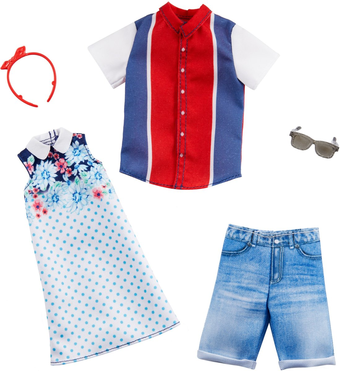 & Ken Fashions outfit 2-pack - rood, wit en blauw -  pop