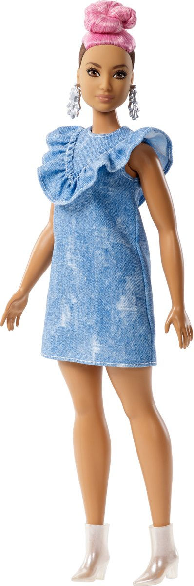 Fashionistas Denim Dress Pink Hair - Curvy -  pop