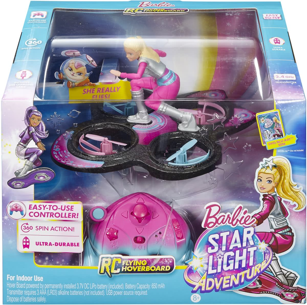 Barbie Star Light Avontuur RC Hoverboard - Barbiepop met Drone