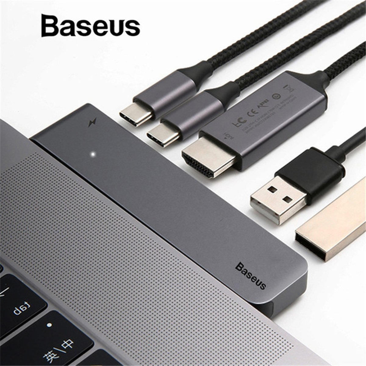 BASEUS Thunderbolt C+ Dual Type-C to USB3.0/HDMI/Type-C Female HUB Converter for MacBook Pro 2016/2017 - Space Grey
