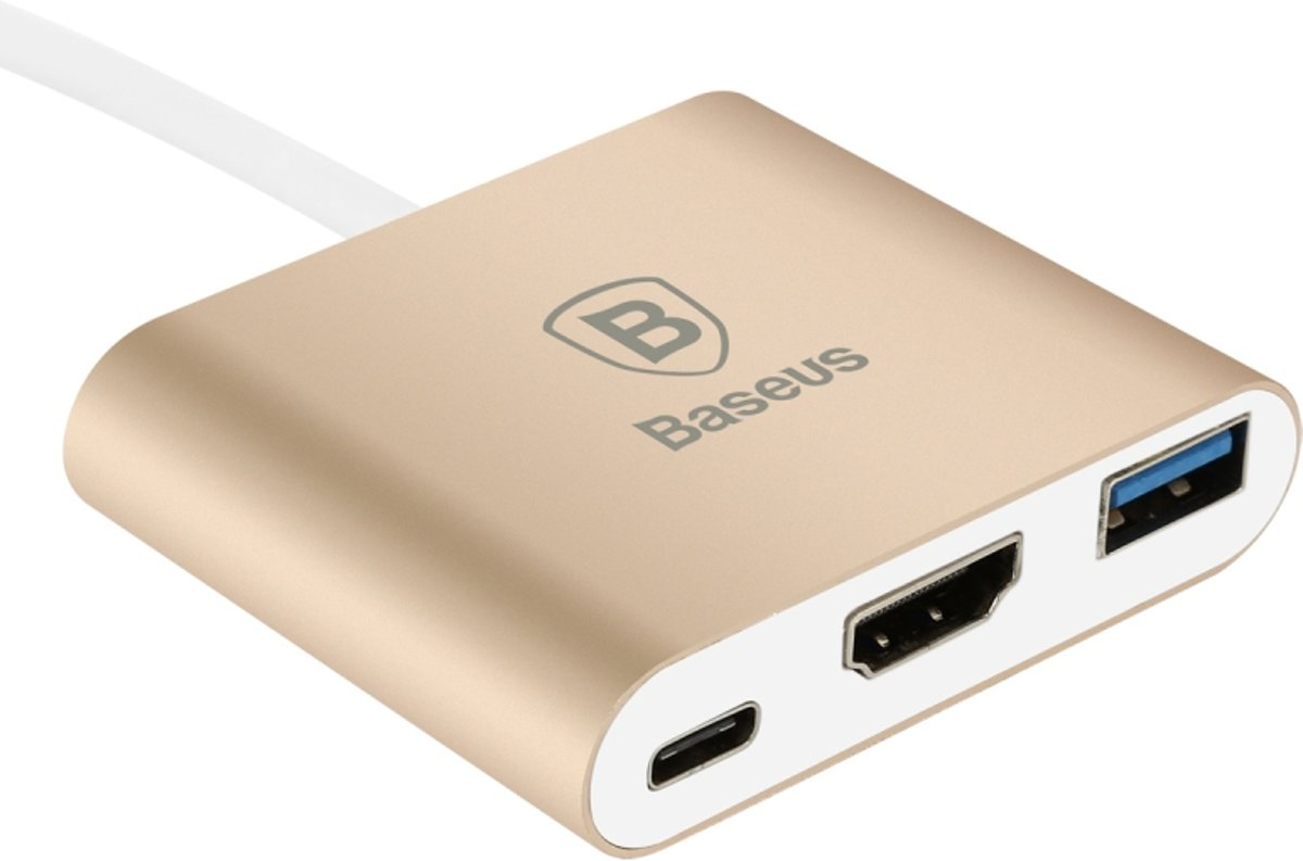 Sharp Series Type-C To HDMI+HUB Adapter Luxury Gold