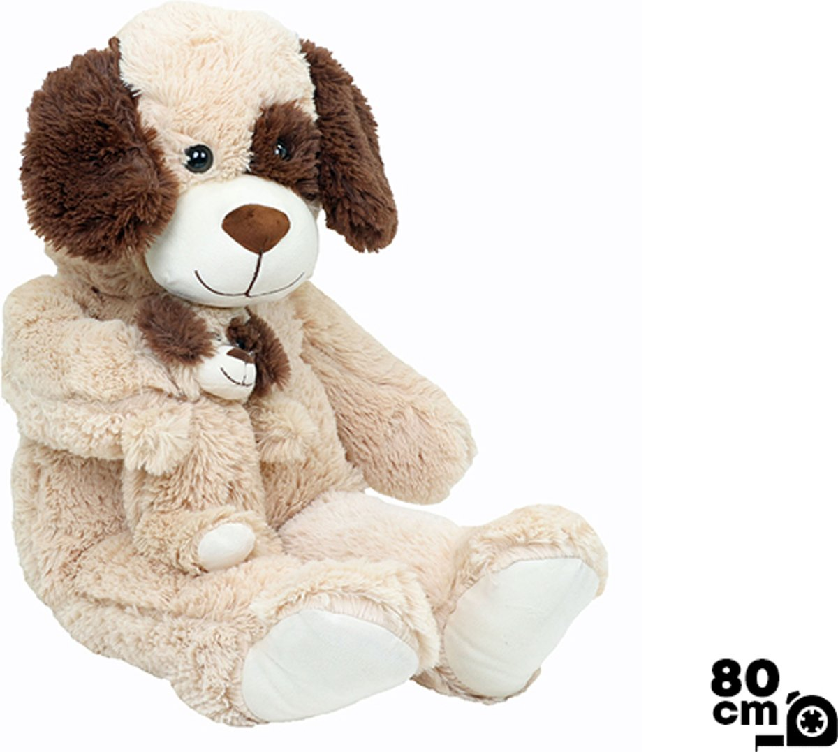 Knuffel Hond & Baby - 100% Polyester - 80 cm