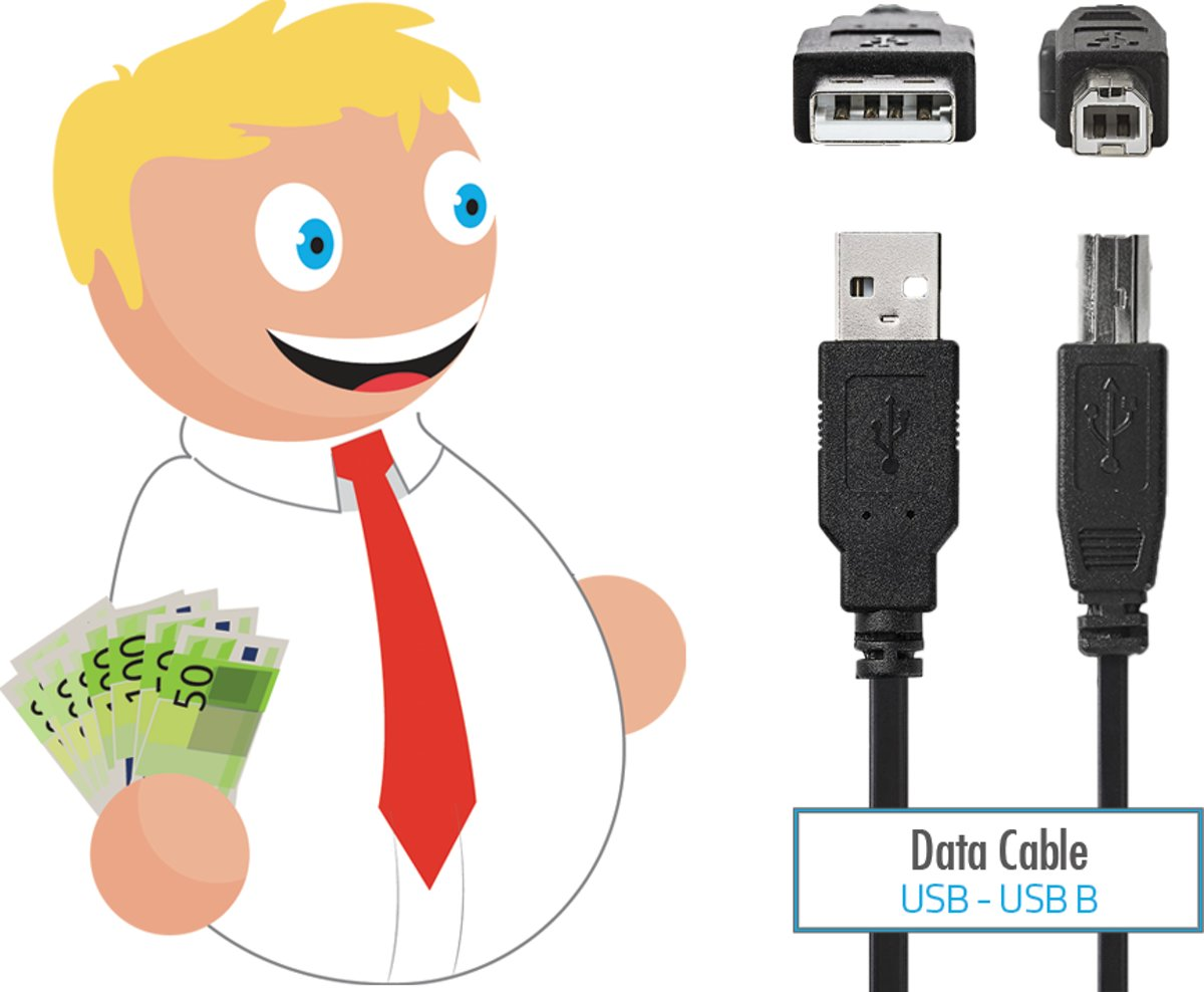 Budget 2 meter Usb printer kabel Usb A naar Usb B