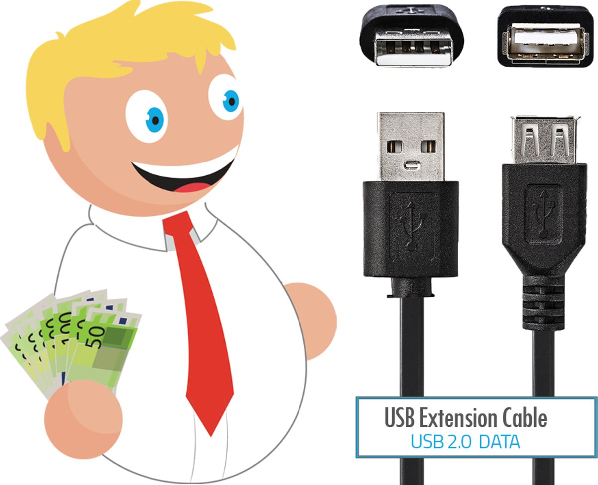 Budget 2 meter Usb verlengkabel Usb A male naar Usb a Female