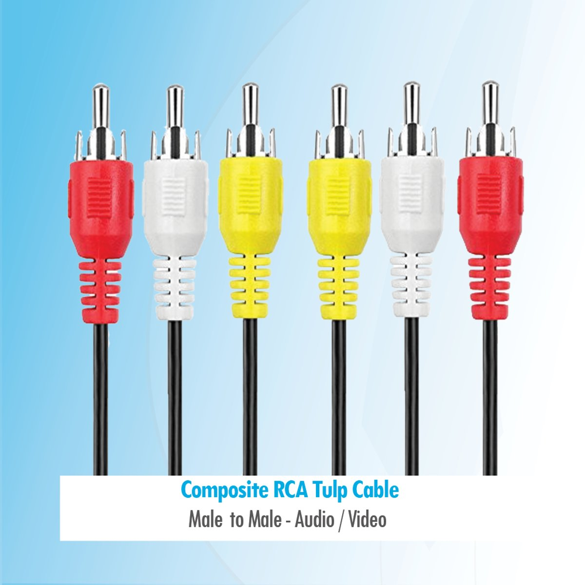 Budget 3 meter composiet RCA / Tulp audio video kabel Male naar Male