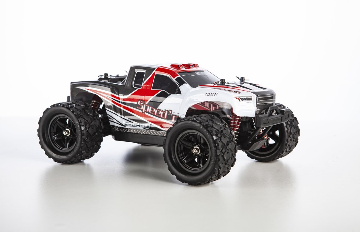 Blijr Speedr - RC Monster Truck 1:18 4WD RTR met extra accu 40km/h - Rood