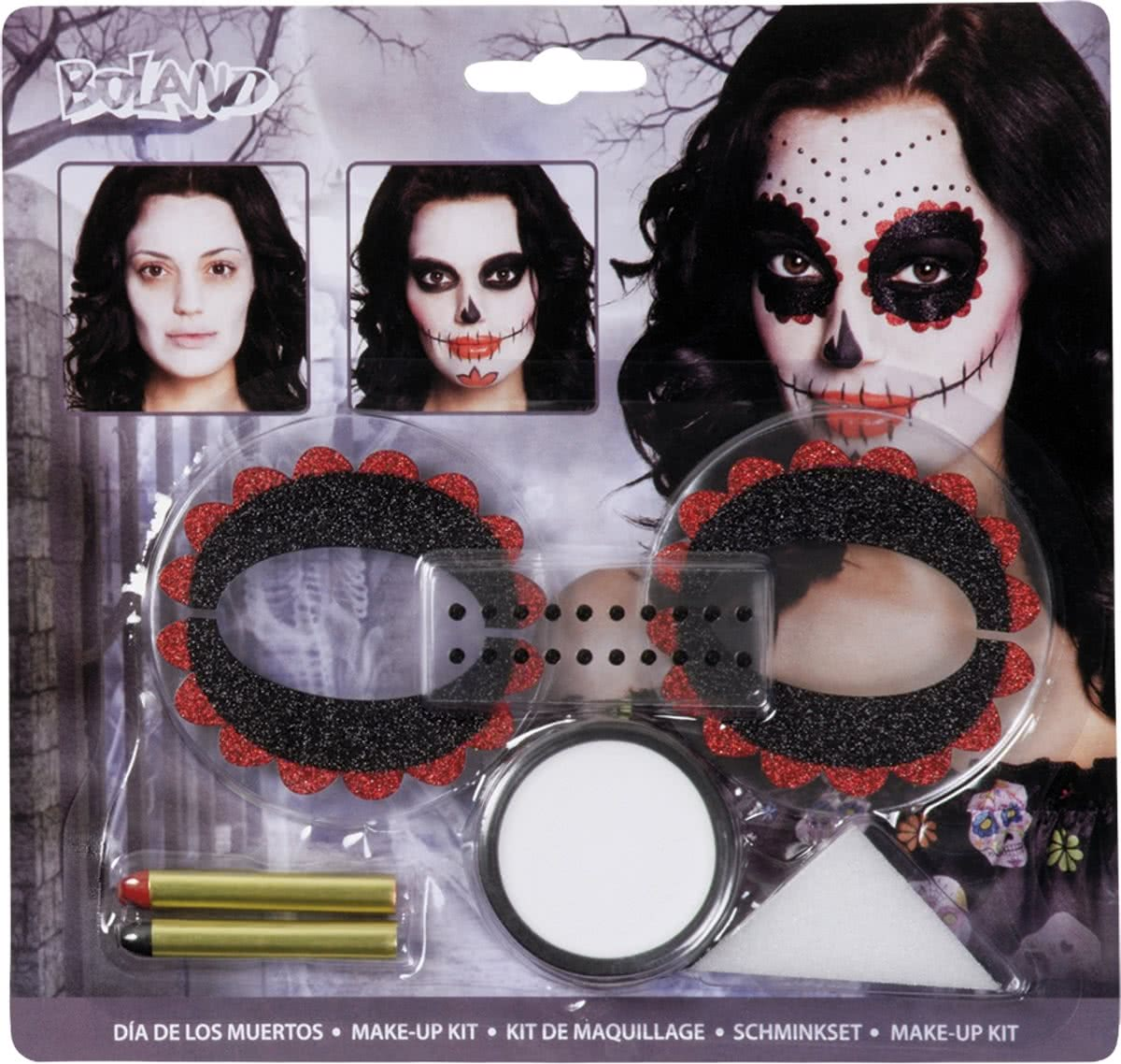 18 stuks: Kit make-up Day of the dead - make-up, 1 spons, 2 oogdecoraties